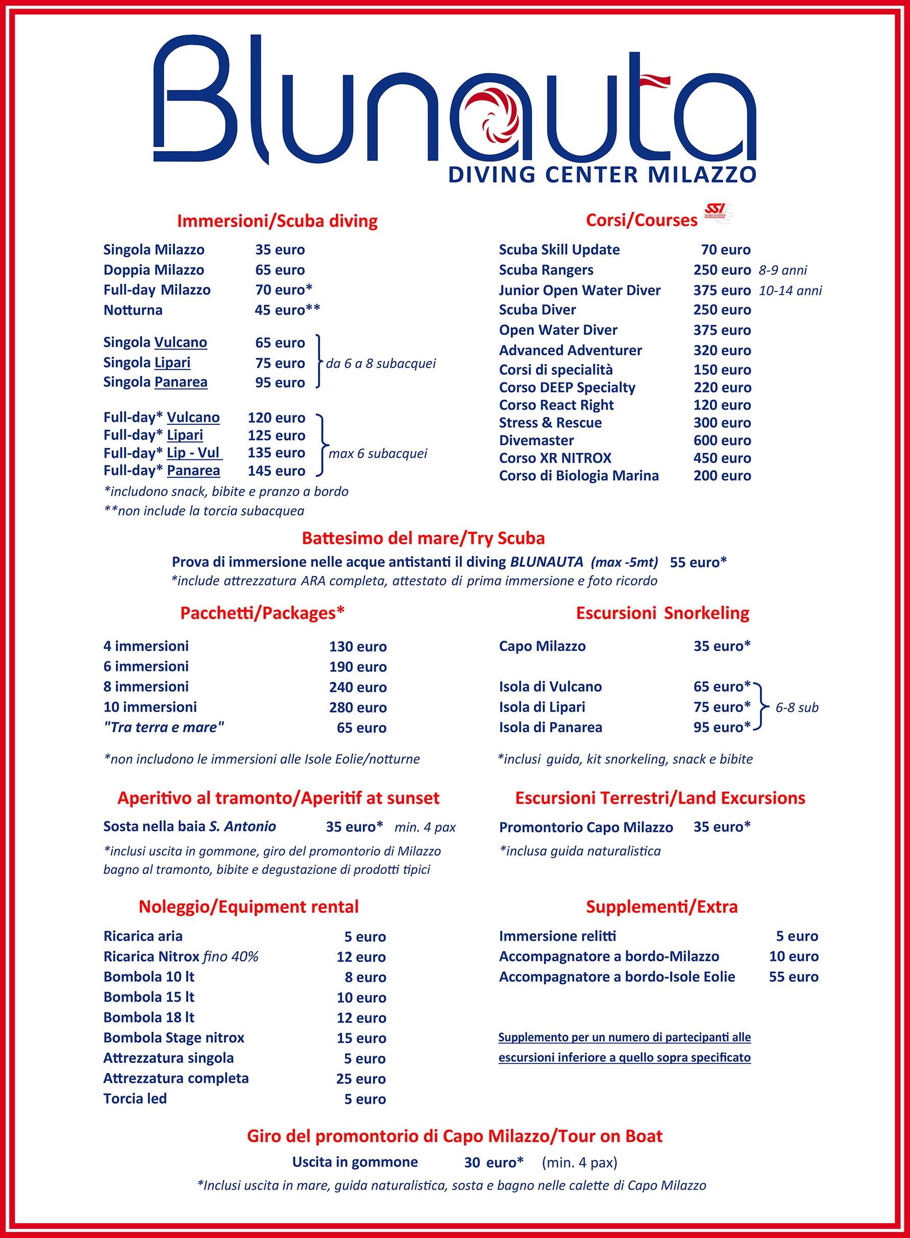 Tariffe Blunauta Diving Center Milazzo